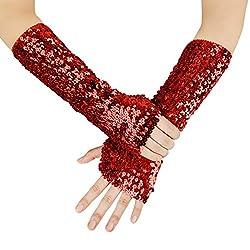 Oversleeves Fingerless Red Sequin Gloves