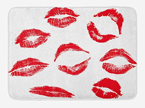 OQUYCZ Kiss Bath Mat, Various Different Kiss Marks in Red Woman Seduction...
