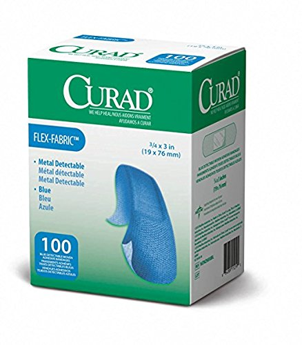 Curad Woven Blue Detectable Bandage, 100-Count (Pack of 6) ()