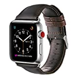 Apple Watch Band 42mm, OUHENG Retro Vintage Genuine Leather iWatch Strap Replacement for Apple Watch Series 3 Series 2 Series 1, Dark Brown with Silver Adapter
