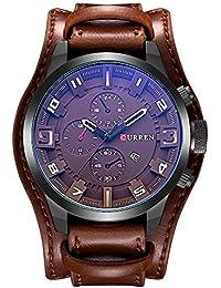 Relógio De Pulso Couro Quarzo Curren 8225 Cor Café (Marrom)