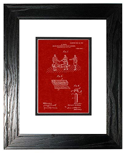 Means for Producing Stage Illusions Patent Art Burgundy Red Print in a Black Pine Wood Frame with a Double Mat (18