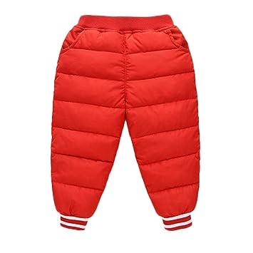 feiXIANG Ropa Infantil bebé niña niño Color sólido Engrosamiento Delgado cálido Pantalones Pantalones Invierno cálido Pantalones