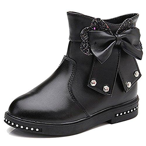 YING LAN Girls Sweet Bowknot Glitter Flats Princess Party Ankle Boots (Toddler/Little Kid/Big Kid) Black 36 by YING LAN