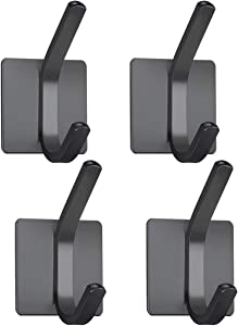 XIGOO Black Adhesive Door Hooks, Office Hanger Hanging Key Towel Coat Hooks Stick on Wall Perfect for Bathroom Kitchen,Stainless Steel 4 Packs