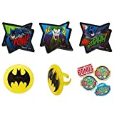 Batman Pow Whooshhh Cupcake Toppers with Bonus Birthday Ring - 25 pc