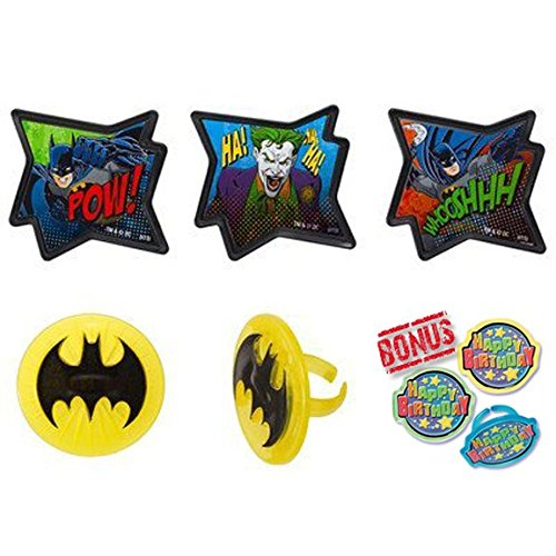 Batman Pow Whooshhh Cupcake Toppers with Bonus Birthday Ring - 25 pc]()