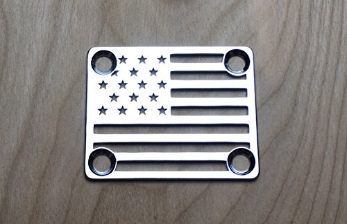 American Flag Neck Plate for your Custom Guitar or Bass - Chrome
