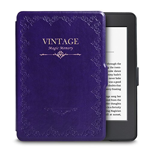 WALNEW Amazon Kindle Paperwhite Retro Book Style Case Cover Ultra Lightweight Leather Smart Cover New Kindle Paperwhite Fits versions: 2012, 2013, 2014, 2015, Purple