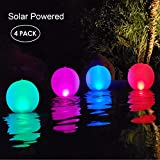 Esuper Floating Ball Pool Light Solar Powered 4 Pack, 14 Inch Inflatable Hangable IP68 Waterproof Rechargeable 4 Color...