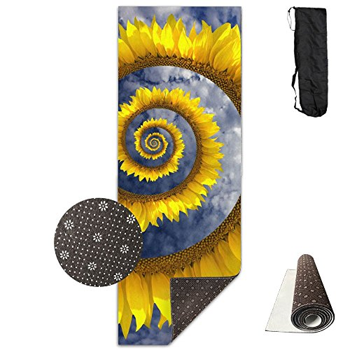 (Unisex Fitness Yoga Mat Helix Circle Sunflower Unique Non-Slip Pattern Towels,Pilates Sports Paddle Board Yoga Exercise 24 X 71 Inches Durable Yoga Mats,All-Purpose)