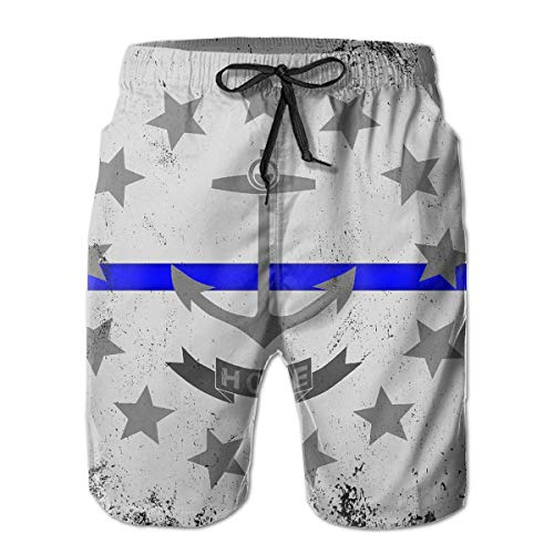 YongColer Cargo Short for Men, Half Pants Full Elastic Waist Regular & Extended Sizes Beachwear for Beach Outdoor Hiking, Blue Line Rhode Island State Flag Shorts, Fast Dry/Washed