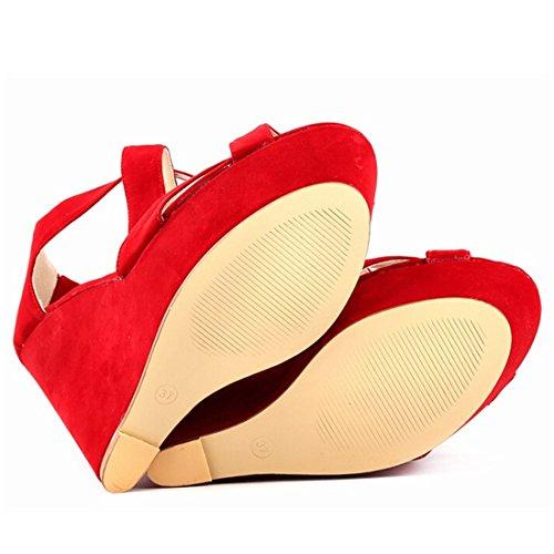 Azbro Mujer Zapatos De Cuñas Solido Multi-Correas Punta Abierta Rojo