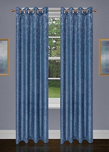 Safdie & Co. Denim Blue 2 PCS Set Curtain Panel Floral Jacquard 84L, 2 Piece