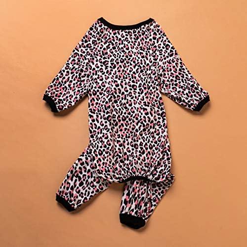 LovinPet - Ropa para perros grandes después de la cirugía / Estampados en rosa neón de guepardo de punto elástico cepillado doble / Protección UV, alivio de la ansiedad de las mascotas, pijama ligero para mascotas / Pijamas para perros de cobertura completa 7