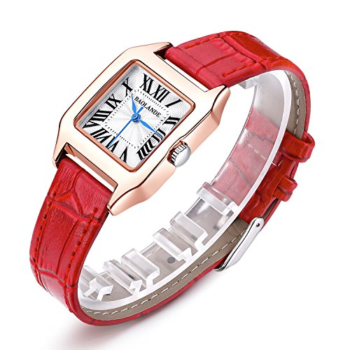 Ladies Watch Select Leather (Women Rose Gold Wrist Watch Ladies Waterproof Red Leather Strap Watches Dress Quartz Watch)