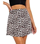 Sexyasasii Women's Casual Soft Satin Skirt Leopard Print Silk Skirt High Waist Invisible Zipper B...
