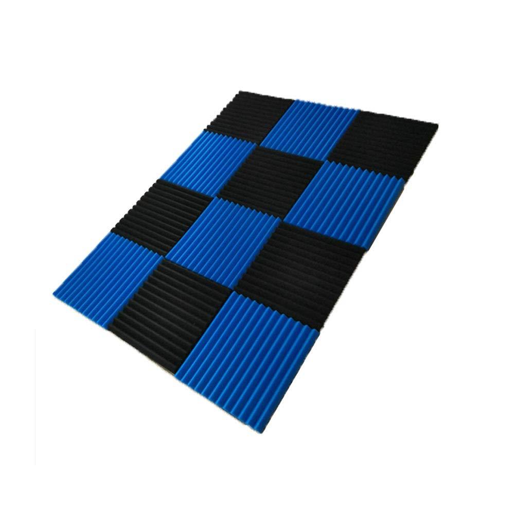 50 Pack All -Black/Blue Acoustic Panels Studio Foam Wedges 1'' X 12'' X 12'' (50pack, Black&Blue) by guohongus (Image #2)