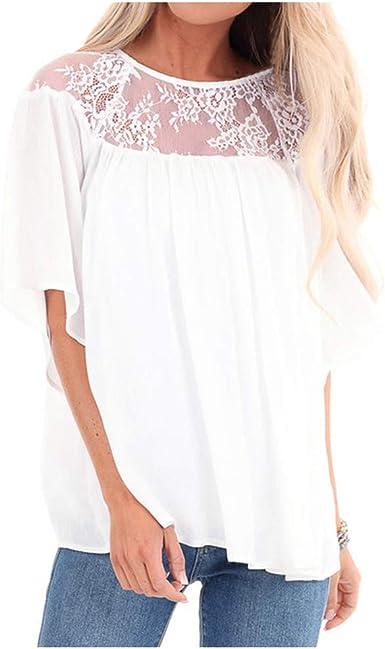 Warmword Camisetas Mujer Dia de la Mujer Verano Patchwork De Encaje Casual Ahuecar Volantes Manga Corta Suéter De Cuello De Tortuga Linda Blusa Floral Camiseta Blanca para Mujer: Amazon.es: Ropa y accesorios