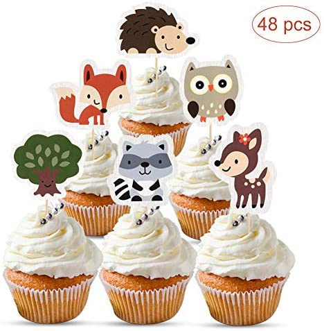 Mity rain 48Pcs Woodland Creatures Cupcake Toppers-Forest Animals Friends Cake Picks for Woodland Theme Baby Shower Birthday Party Supplies