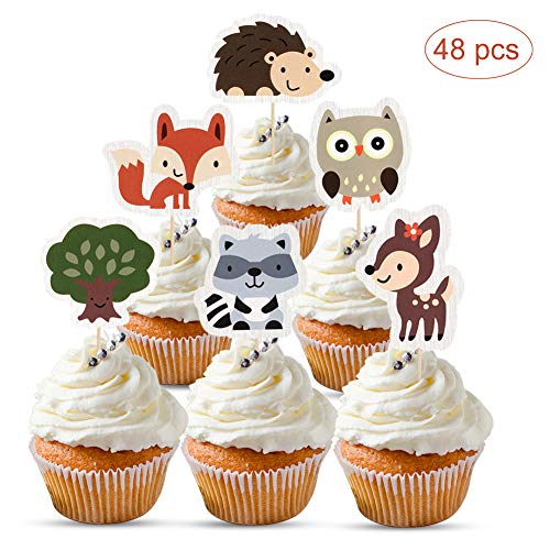 (Mity rain 48Pcs Woodland Creatures Cupcake Toppers-Forest Animals Friends Cake Picks for Woodland Theme Baby Shower Birthday Party Supplies)