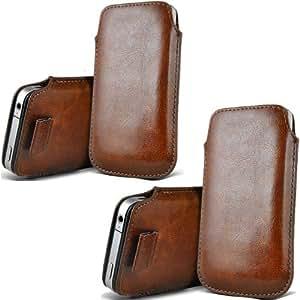 ONX3 Twin Pack HTC One V Brown PU de cuero protector lengüeta del tirón la bolsa de la cubierta de la piel