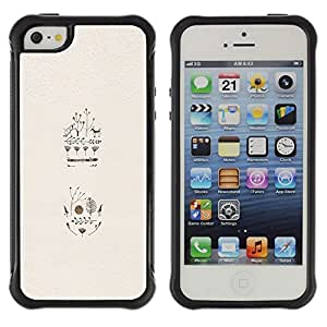 WAWU Funda Carcasa Bumper con Absorci??e Impactos y Anti-Ara??s Espalda Slim Rugged Armor -- birds flowers trees deer minimalist beige -- Apple Iphone 5 / 5S