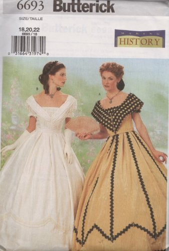 Butterick Making History Pattern 6693 for Misses' Historical Costume, Sizes 18, 20, & (Southern Belle Costume Patterns)