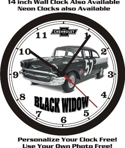 1957 CHEVROLET 150 SEDAN BLACK WIDOW STOCK CAR WALL CLOCK-FREE USA SHIP! (Labonte Stock)