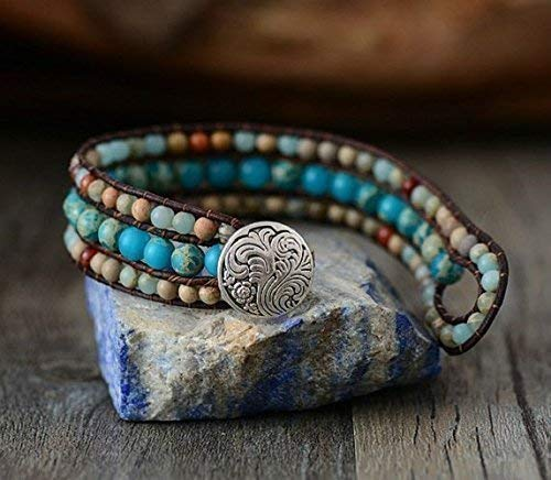 Tyra Handmade Jasper Leather Cuff Bracelet Best Selling Jasper Cuff Bracelet Ocean Jasper Bracelet Single Wrap Jasper Beaded Button Bracelet