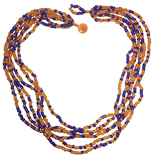- 6 Row Seed Bead Multi Color Handmade Fun Statement Necklace (Orange and Blue)