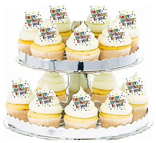 Happy Birthday Primary Dots Cupcake / Food / Appetizer Decoration Topper Picks - ()