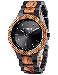 BOBO BIRD Mens Retro Zebra Wooden Watch, Large Size Quartz Watch with Black Face Wristwatch Best Gift