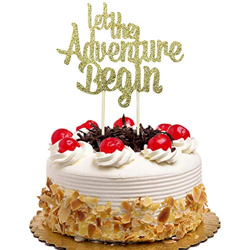 Let The Adventure Begin Cake Topper for Wedding, Engagement, Baby Shower Party Decorations Gold Glitter ()