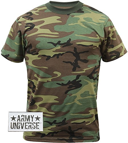 Woodland Camouflage T-Shirt with ARMY UNIVERSE® Pin - Size Medium (Army Woodland Camo)