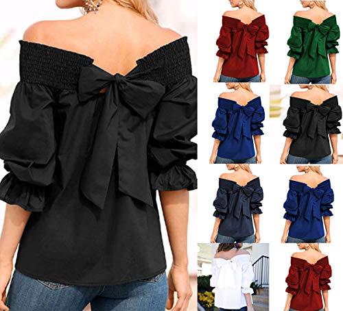 Haut Tops Fashion Jeune Chemisiers Bateau ud et Tee T Femme Noir Shirts Blouse Printemps Shirt N Automne Arrire Longues Manches Col Papillon fxq4w6EY