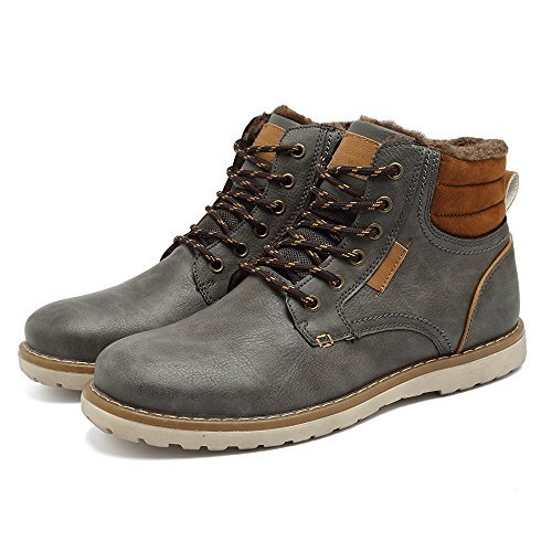 Quicksilk EYUSHIJIA Men's Waterproof Snow Boots Hiking Boot (9 D(M) US, Dark Gray-Fur Lining)