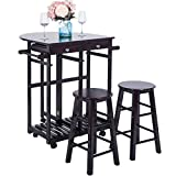 Harper&Bright Designs 039310 Kitchen Trolley Cart Utility Top Drop-Leaf with 2 Stools (Espresso)