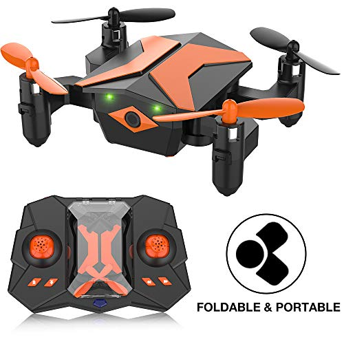 Mini Drone for Kids, RC Quadcopter Portable Foldable Drone for Beginners RC Helicopter w/One Key Take Off, Headless Mode, Altitude Hold, 3D Flip, 2.4Ghz 6-Axis Gyro, Great Gift for Kids – X Pack 2