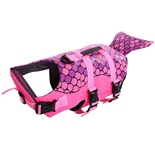 Dog Life Jacket Ripstop Lifesaver Coat Pet Swimsuit Floatation Life Vest Preserver (Small, S, Pink )
