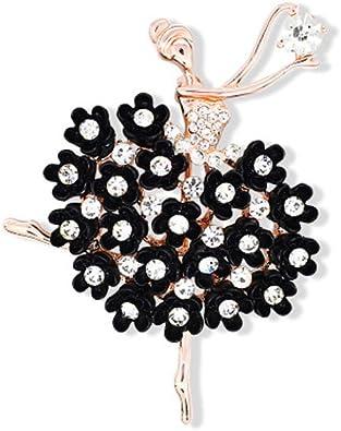 Fashion Women Girls Colorful Bling Crystal Ballet Dancer Brooch Pin Gift for Dance Lover