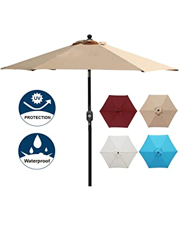 Blissun 7.5 Ft Patio Umbrella, Yard Umbrella Push Button Tilt Crank