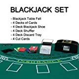 Complete All-in-One Home Style 4-Deck Deluxe Blackjack Set - Includes 5 Bonus Dice!