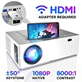 Native 1080p Projector, BOMAKER 4K Support Ultra HD Video Projector, 8000:1 Contrast Ratio, 4D ±50°Horizontal Vertical Rotate Keystone, 50% X/Y Zoom Out, 50,000 Hours, 6500 Lux, Compatible with TV Stick, iPhone Android, PC, PS4
