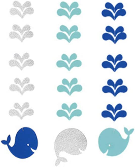 LUOEM Nautical Baby Shower Decorations Whale Hanging Cutout for Baby Shower Birthday Party Decor (Blue)