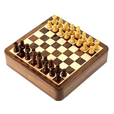 Travel Games Chess Sets and Board Wooden Toys and Games 7 X 7 Inches