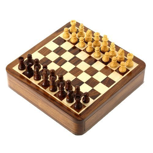 旅行ゲーム磁気チェスセットとボード木のおもちゃやゲーム7 X 7インチ