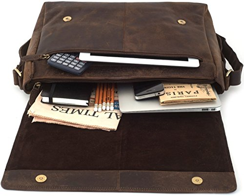LEABAGS Oxford genuine buffalo leather messenger bag in vintage style - Muskat by LEABAGS (Image #5)