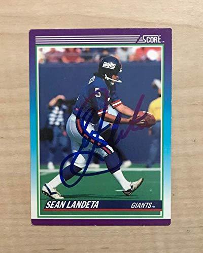 SEAN LANDETA NEW YORK GIANTS SIGNED AUTOGRAPHED 1990 SCORE CARD #175 W/COA