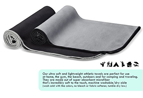 Runetz Soft Microfiber Athletic Towel, Super Absorbent & Quick Drying Lightweight for Gym, Sport, Travel, Large/Small, Black/Gray, 2 Piece by Runetz (Image #4)